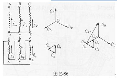 [问答题,简答题] 画出三相变压器一,二次绕组y,d1接线组别图及电压的