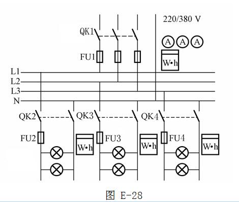 绘图题:画出某220/380v三相四线制电路供电一路进线,三路出线照明配电