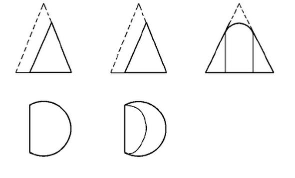 [问答题,计算题] 图e-29的圆锥切去虚线部分,请补全其三视图.