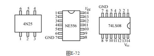 绘图题: 在下面的电路板上,如图e-71所示,有ne556,,74