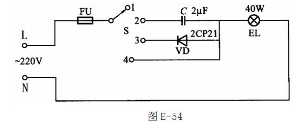 图e-54所示电路是什么控制电路,并说出图中多档开关s分别在1,2,3,4档