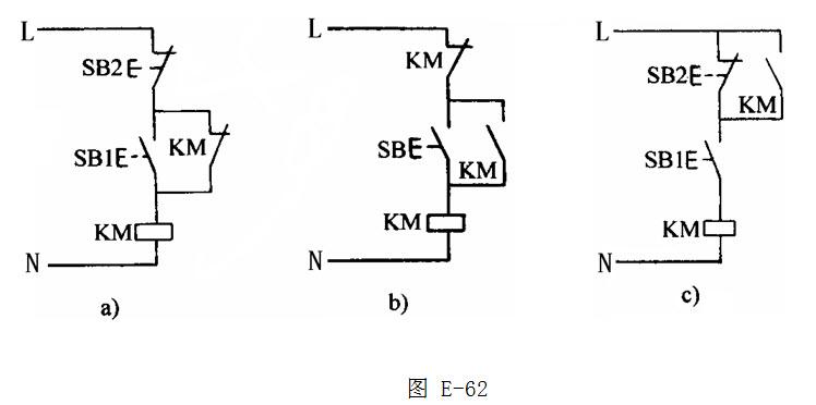 绘图题:如图e-62所示自锁控制电路中,请指出有关错误及出现的现象.