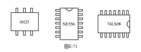 在下面的电路板上,如图e-71所示,有ne556,4n25,74ls08芯片,请标出管