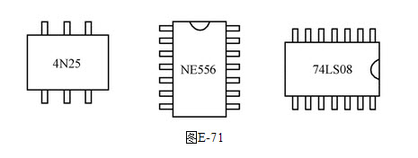 绘图题:在下面的电路板上,如图e-71所示,有ne556,4n25,74ls08芯片,请